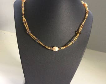 Yellow/Amber Double Stranded Beaded Necklace with Brown Accents