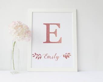 Nursery Monogram,Pink gold,Letter Art Print,Baby Girl Pink Nursery,Printable Initial,Digital Customized Personalized, baby girl nursery sign
