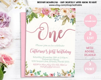 Floral 1st Birthday Invitation, Girl First Birthday Invitation, Watercolor Flowers Invite, Digital Editable Template Instant download