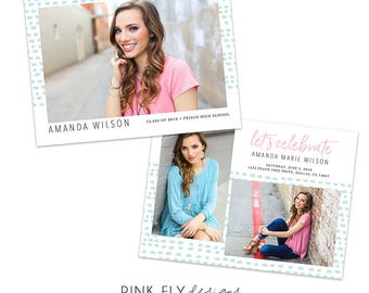 Senior Graduation Announcement | Mint Dash | Photoshop Template