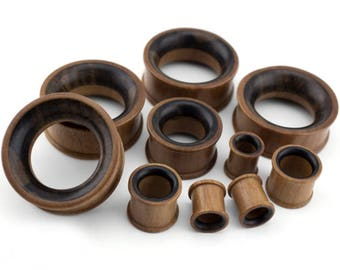 Two Tone Organic Saba & Sono Concave Wood Plugs/Tunnels