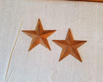 3.5 inch Rusty Tin Stars, Package of 2, Tin Stars, Rusty Tin Star, Primitive Craft Supplies, Wedding Supplies, Metal Star, Rusty Star