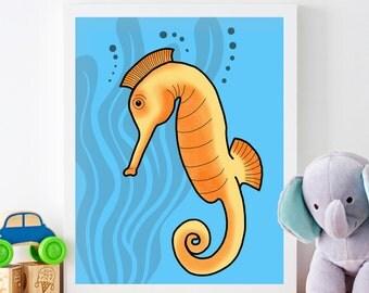 Printable Art, Seahorse, Downloadable Art, Kids Decor, Childrens Decor, Home Decor, 8x10, Digital Art, Poster, Sea Life, Sea Creature, Ocean