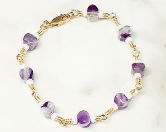Handmade Amethyst 14K Gold-filled Bracelet