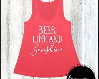 Beer Lime and Sunshine Tank Summer Tank Beach Tank Top Vacation Shirt Beach Shirt Women's Tank Lake Shirt