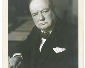 Winston Churchill signed autograph print