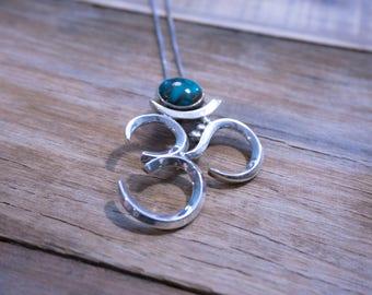 Turquoise Aum Pendant | Turquoise Pendant | Oxidized .999\.925 Silver