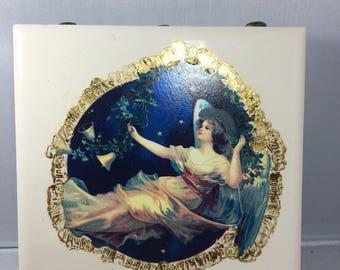 Vintage Painted Angel Tile Matchbox