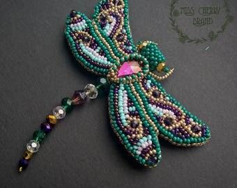 Green dragonfly brooch with Swarovski stone Large brooch