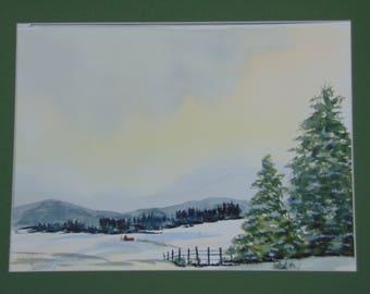 Snowy Day original watercolor