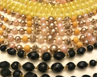 Vintage Beaded Multi Strand Necklace Lot Of Four Japan and Hong Kong Yellow Necklace Black Necklace Peach Necklace Tan Necklace