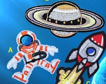 astronaut Embroidered Iron On Patch, planet sewing patch, rocket patch, outer space patch