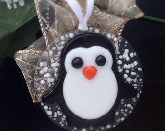 Handmade Fused Glass Penguin Ornament / christmas tree / suncatcher / Back / white / 3 inches
