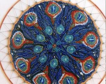 Mandala embroidery pattern art textile Art-peacock feathers