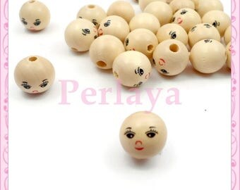 Lot 100 wooden faces REF316 14mm beads