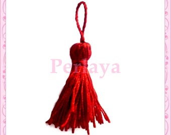 Set of 5 red 4cm tassels REF420
