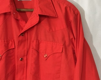 70's M Red H Bar C California Ranchwear Western Shirt w/ Red Pearl Snap Buttons Long Sleeve - Made in USA