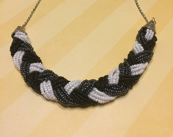 Black, White, and Gray Braided Bead Necklace