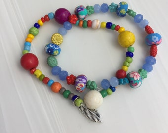 2-pc Colorful Beaded Bracelets (small woman, or teen)