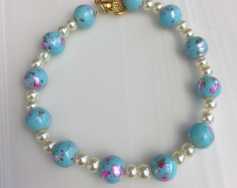 Pink and blue and pearl bead lobster claw bracelet