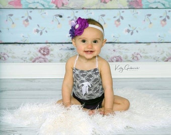 Purple Floral Headband for Newborn