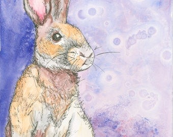 Rabbit in the Moon (original watercolor and ink painting)