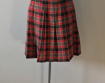 Red grey check wool collegiate pleat skirt