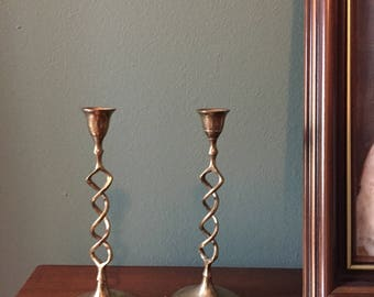 Twisted Brass Candlesticks