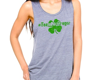Distressed Team McGregor womens Muscle Tank with Shamrock
