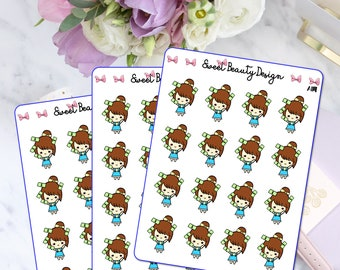 Payday Girl Planner Stickers, Cute Pay Day Sticker, Kawaii Brown Hair Girl, Mini Planner Sticker, Planner Accessories