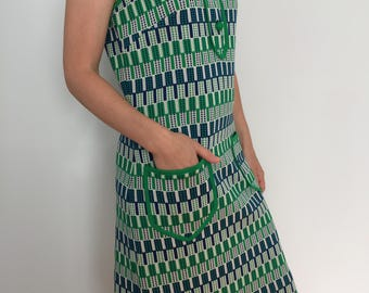 60s Blue and Green Geometric Pattern Dress / Vintage 1960's Collar and Pocket Dress / No Sleeve Shift Dress / Made in Italy