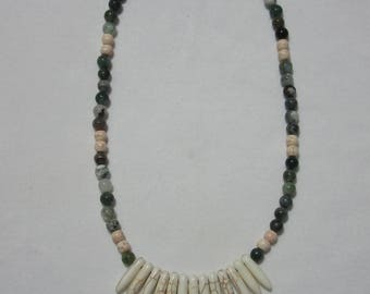 Green agate beaded necklace with stone spike pendant