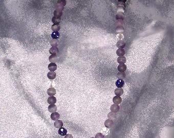 Matte Amethyst and Swarovski Crystal Necklace