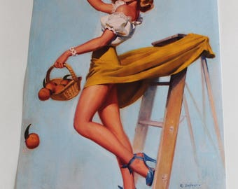 Beautiful vintage pinup poster funny Robert Skemp canvas print.