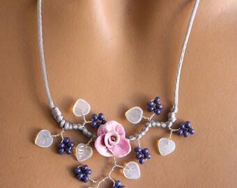 Necklace purple gray floral