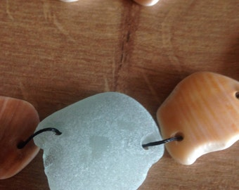 Sea glass and sea shell necklace - made in cornwall, a selection of lovely polish sea shell pieces.