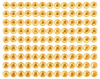 3 Sheets - Orange 6mm Adhesive Rhinestone Dot Sticker