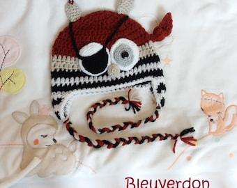Pirate OWL Hat handmade crochet amigurumi