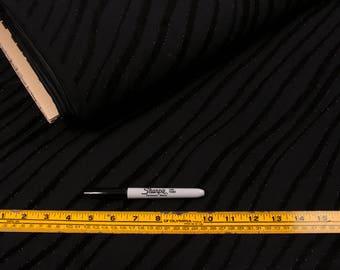 5 Yards, Fabric, Black Stripe, Lightweight Polyester, Vertical Wavy Stripes, 2 Way Stretch, Gothic