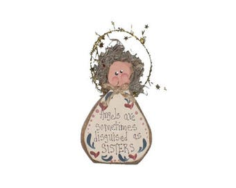 IM's Countryside Painting, Angels are Sometimes Disguised as Sisters, Sign, Sister Angel, Gift for Sister, Ornament, Hanging Angel