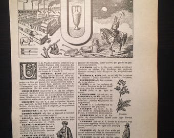 Letter U - Initial Print - Antique French Dictionary Page - Original 1940s Lithograph