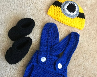 Minions Despicable Me Inspired Infant Newborn Baby Outfit Beanie Hat Booties Shoes Diaper Cover Overalls Crochet Photography Photo Prop
