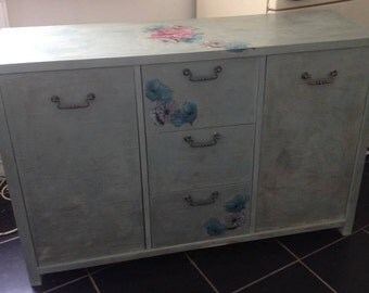 beautiful aged floral sideboard