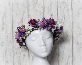 Flower Crown - Purple, White & Pink