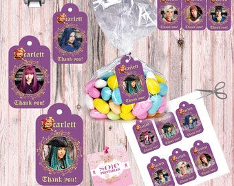 NEW! Descendants 2 Favor Tags- BIRTHDAY TAGS! Thank you tags! This is a Digital File- No Instant Download!