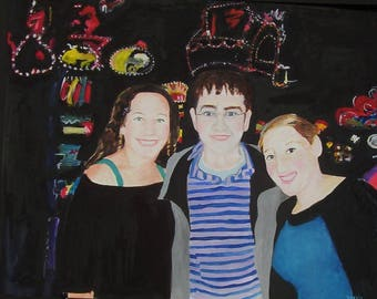 Custom Family, Portrait Painting, Watercolor Painting, Portrait Original Painting, 20 X 30 Gift Art, Family Portrait