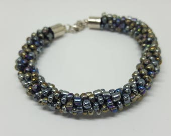 Grey Kumihimo beaded bracelet