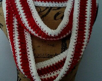 Red and White infinity scarf