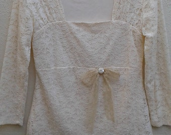 Romantic, Cream lace blouse, Lace blouse, Boho blouse, Bohemian blouse, Prairie, Magnolia Pearl, Vintage, Country western, Wedding, Upcycled