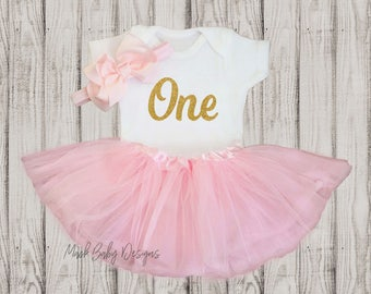 First Birthday Outfit Girl, Girls first birthday outfit, 1st Birthday Girl Outfit, Pink Gold first Birthday Outfit,Birthday Dress, Pink Tutu